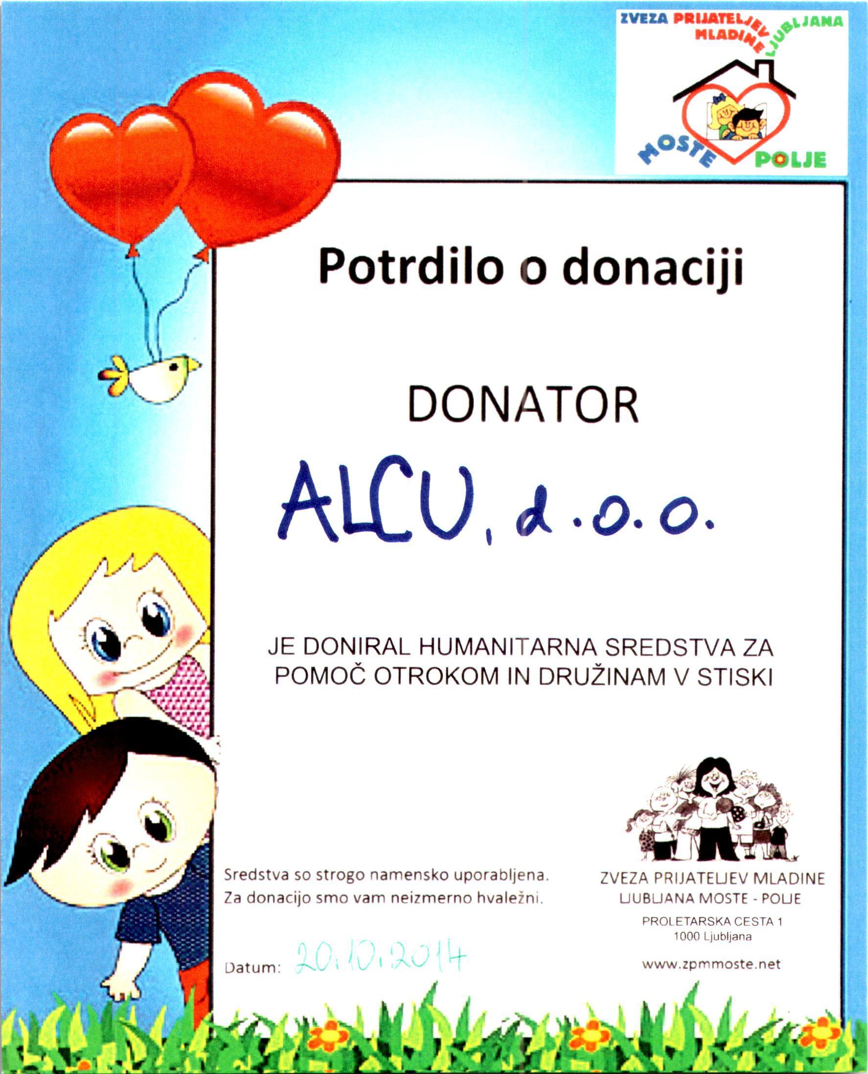 Donacija sredstev za pomoč otrokom.